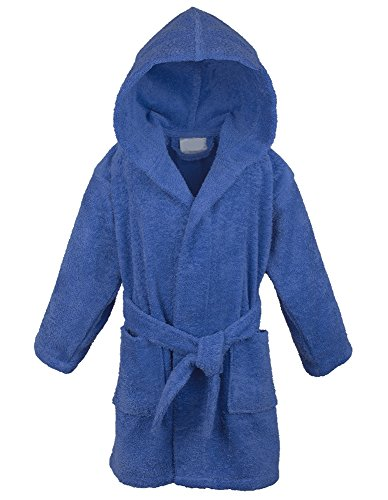 100% Turkish Cotton Kids Hooded Terry Robe - Boys - Royal Blue - Small Medium (Boys Terry Cloth)