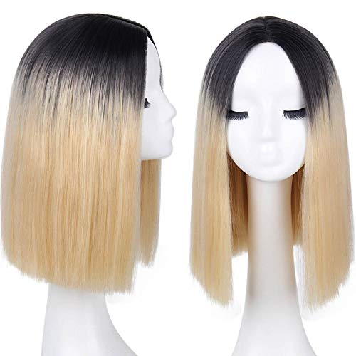 Synthetic Blunt Straight Long Hair Wig Ombre Black