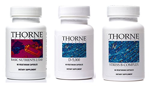 Thorne Research Supplement Bundle (3 Items) - Basic Nutrients 2/Day + Vitamin D-5000 + Stress B-Complex by BEST Supplements