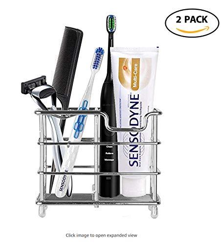 Yishik - Soporte de Metal para cepillos de Dientes, 2 Unidades, Multifuncional, Organizador de 5 Ranuras para cepillos de Dientes de baño con escurridor de ...