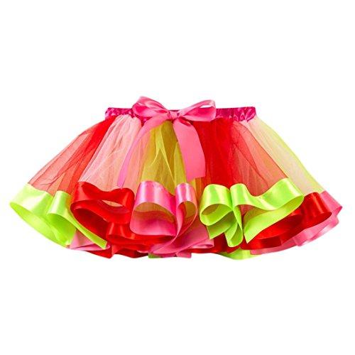 Tutu Skirt Girls MITIY Kids Tutu Tulle Party Dance Ballet Toddler Rainbow Baby Costume Skirt (10T, Red)