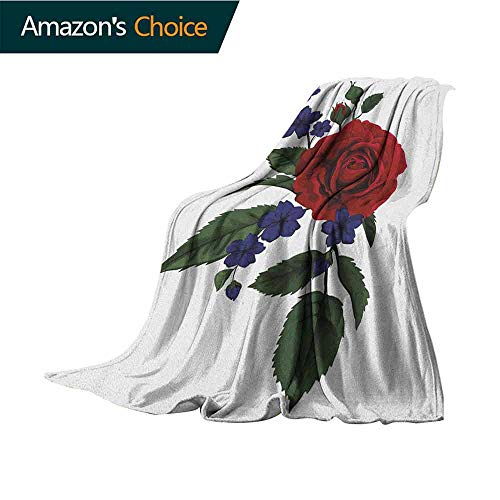 Rose Printed Blanket,Valentines Rosebud with Little Blossoms Love Passion Theme Artful All Season Light Weight Living Room/Bedroom,70