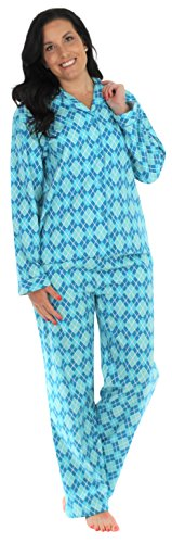 PajamaMania Women's Sleepwear Flannel Long Sleeve Pajama Set- Blue Argyle (PMF1002-2040-XL)