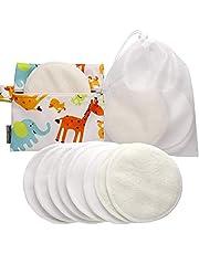 Die Besten Waschbaren Bio Bambus Stilleinlagen (8er-Pack) mit Wäschenetz und Stofftasche von SmartFami, Wiederverwendbare Brusteinlagen, Ultraweich, Wasserdicht, Auslaufsichere BH-Einlagen, Saugfähig