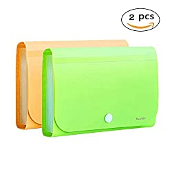 OffKits Expanding File Folder A6 According Folder Organizer Mini PP Wallet for Coupons,Receipt,Checks,Cards,Tax,Changes and Document,12 Pockets with Index Tabs And Snapper,7x4.5 Inches (Green+Yellow)