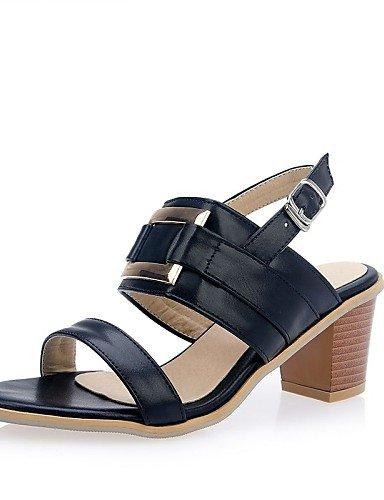 LFNLYX Zapatos de mujer-Tacón Robusto-Talón Descubierto / Punta Abierta-Sandalias-Vestido-Semicuero-Negro / Blanco White