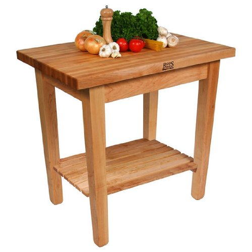 John Boos Cream Finish Maple Country Work Table with One Shelf, 36 x 24 x 1.75 inch - 1 - Butcher Lower Shelf Block