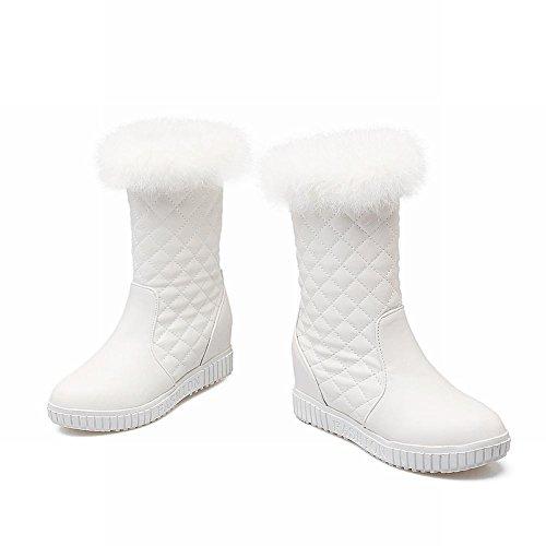 Latasa Dames Geruite Faux Haar Opening Wiggen Middenkalf Winter Snowboots Wit