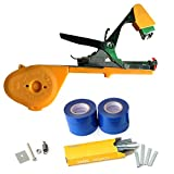 Garden Plant Tying Tool New Design Stainless Steel Double Hook Tapetool Grafting Hand Tool 10 Rolls Tape Sets (Random Color),Yellow