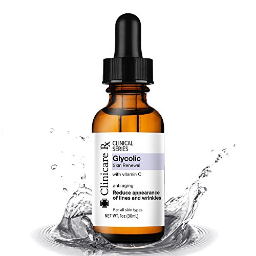 Clinicare Rx Glycolic Serum for Face | Topical serum with Vitamin C | Green Tea Leaf Extract & Vitamin E | Natural Anti Aging Anti Wrinkle | 1 fl. oz.