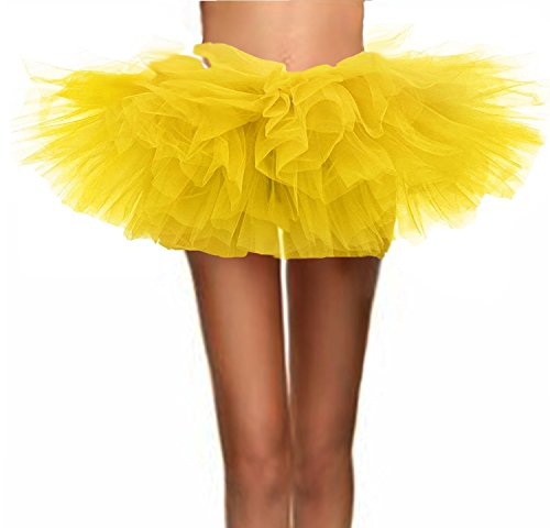 T-Crossworld Women's Classic 5 Layered Puffy Mini Tulle Tutu Bubble Ballet Skirt Yellow Plus -