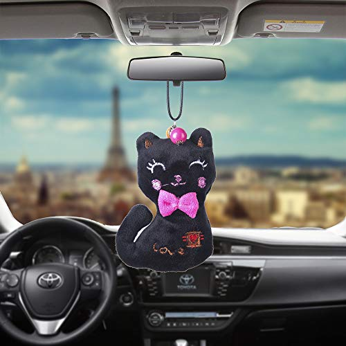 Libloop Car Pendant Colorful Plush Cute Love Cat Bear Raccoon Long Ear Rabbit Automobiles Rear View Mirror Charms Hanging Suspension Ornaments Gifts Home Decoration (Cat-Black)
