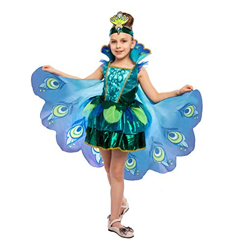 Peacock Dress with Feather Wings and Headband for Girls Halloween Costume and Animal Costumes for Kids (Small 5 - 7) Blue