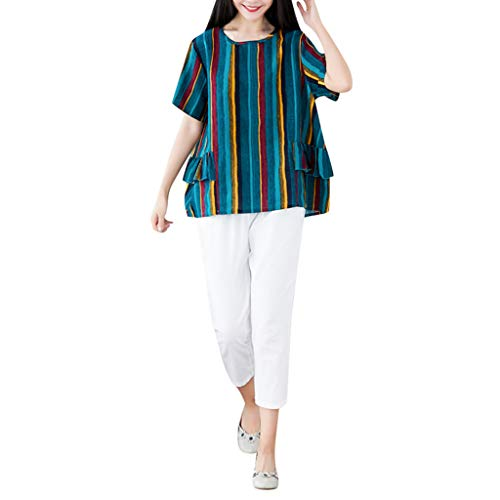 Womens Casual Cotton Linen 2 Pcs Outfits Short Sleeve Ruffle Crewneck Tunic Tops Boho Striped Blouse Soft Breathable Cropped Pants Summer Lounge Wear