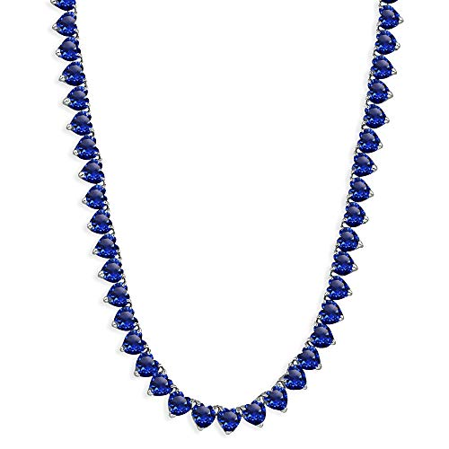 Sterling Silver Created Blue Sapphire Heart Classic Tennis Necklace, 16 Inches ()