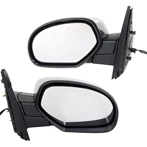 Suburban Chrome Manual Mirror - Power Mirror compatible with Chevy Silverado 07-13/Suburban 07-14 Right and Left Side Manual Folding Heated Signal and Puddle Light Chrome