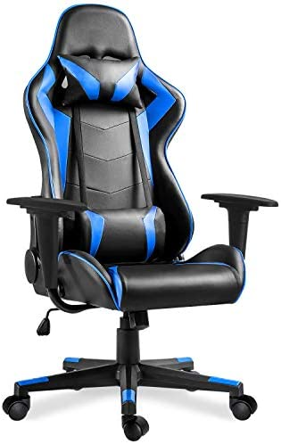 MIERES Video Gaming Chair Racing Office-PU Leather Back Ergonomic 150 Degree Adjustable Swivel Executive Computer Desk Task,with a high backrest, Thick-Padded headrest,Lumbar Support Pillow, Blue-AAC