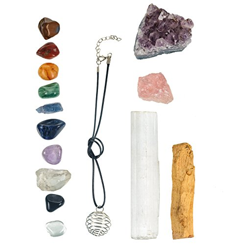 Kyanite Wand - TIME TO ALIGN Healing Crystals For Chakra Balancing / 15 Piece Crystal Healing Set Includes Amethyst Cluster, Raw Rose Quartz, Tumbled Stones, Palo Santo For Reiki, Wellness, Meditation, Spirituality