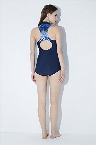 Crème Solaire Sports Haut Skinny One Imprimé Col Blue De Manches Piece m Bain Maillot Amadoierly Sans 7TqOY