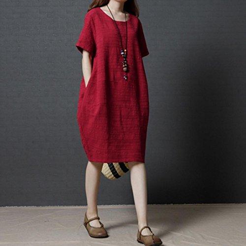 Loose Rouge Chic Rouge Courtes Casual 38 en Manches Robe pour M XXL Femmes 44 Coton Guesspower Ete Noir Femme BUxXWSqS