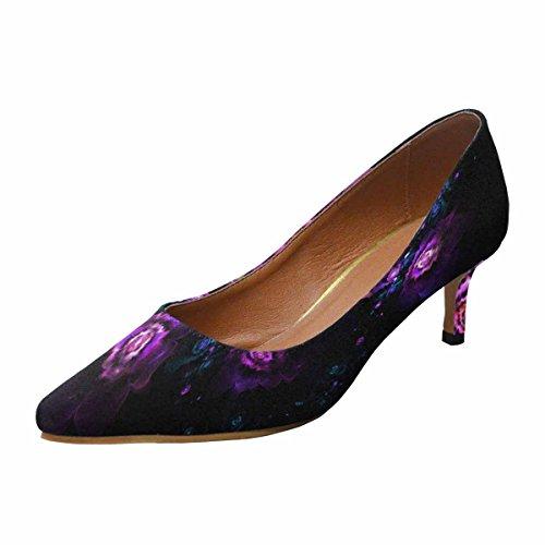 InterestPrint Kitten Background Toe Womens Flowers Pump Heel Black Purple Shoes 1 Dress Multi on Pointed Low rqrp1