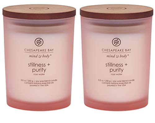 Chesapeake Bay Candle Scented Candles, Stillness + Purity (Rose Water), Medium (2-Pack) -
