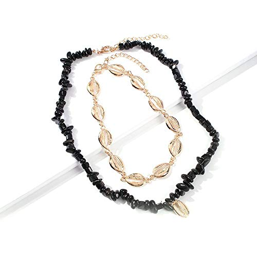 - Handmade Necklace Women Pearl Shell Pearl Leather Rope Necklace Style Bohemian Style Jewelry Pendant(black)