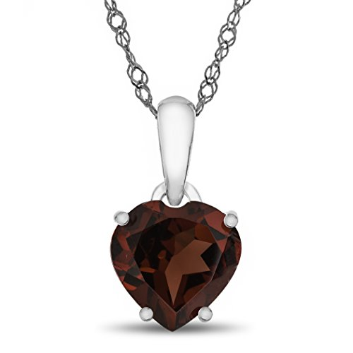 Finejewelers 10k White Gold 7mm Heart Shaped Garnet Pendant Necklace Garnet Heart Shaped Pendant