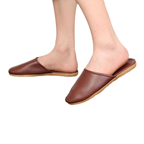 Tellw Wooden Autumn W Floor Spring Men Summer And Slippers Pu Caf¨¦ Leather For Mute Women FqFpraw