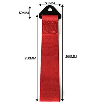 Car Modification JDM Sports Red Racing Tow Strap Personalized with Chinese Slogan Traction Rope Trailer Hook HF Fit for Front or Rear Front Bumper Decorative Trailer Belt (C): Automotive