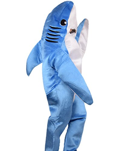 Adult Shark Costume Halloween Mascot Funny Animal Blue]()