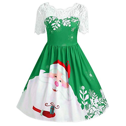 Yandam Christmas Print Big Swing Dress Ladies Short-Sleeved Dress Costumes(Green X-Large)