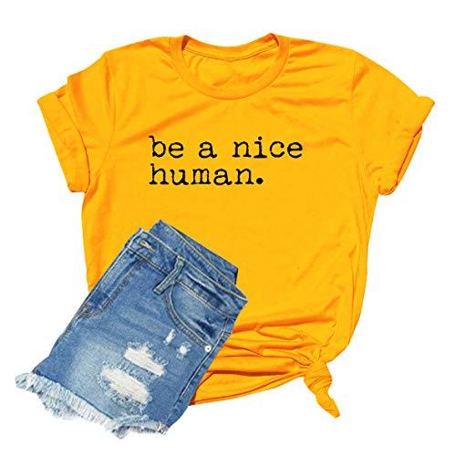 GEMLON Be A Nice Human T-Shirt Women Feminist Shirt Cute Graphic Funny Letter Print Top (M, Yellow)