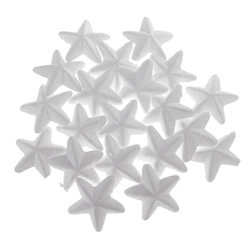 Dovewill 20 Pieces White Star Shaped Styrofoam Foam Ornaments DIY Craft Party Decoration