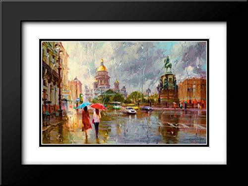 Summer rain in St. Petersburg 24x18 Black Modern Frame and Double Matted Art Print by Kovalev, Vladimir (Galleria St Petersburg)