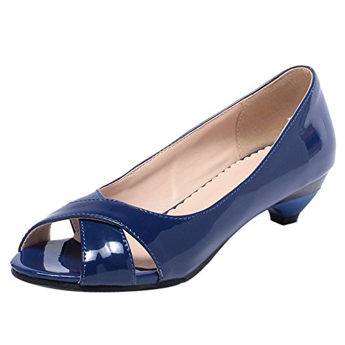 Autumn Small Heel On Pumps Casual Women Slip Blue Toe Shoes Peep TAOFFEN gOEq1YwW