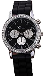 Geneva Black Silicone Wristband Rhinestone Women's Quartz Watch