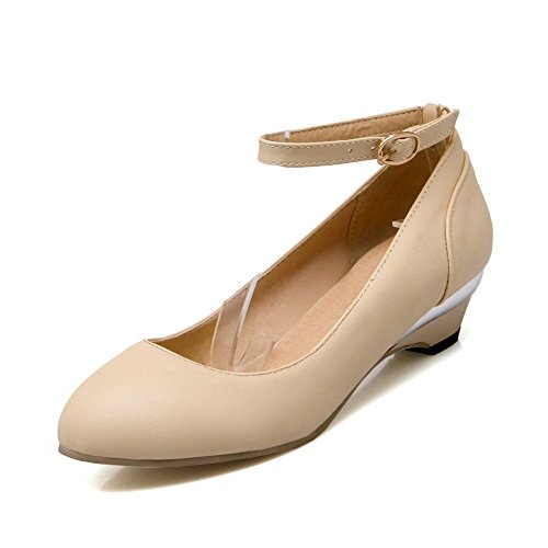 VogueZone009 Women's Round Closed Toe Low-Heels Soft Material Solid Buckle Pumps-Shoes Beige gMx56A
