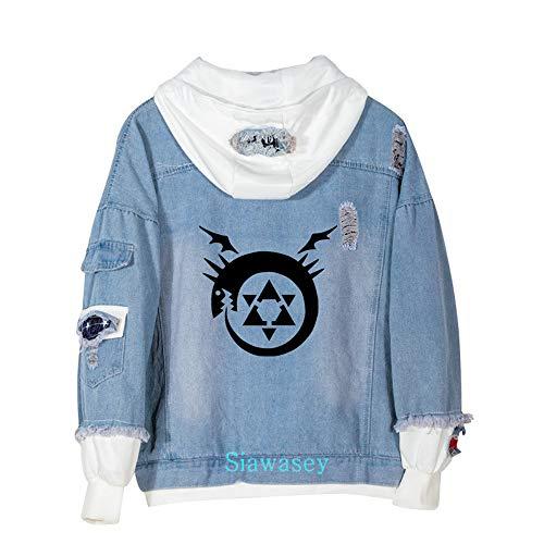 Siawasey Anime Fullmetal Alchemist Cosplay Denim Jacket Hoodie Pullovers Sweatshirt Fleeces Costume