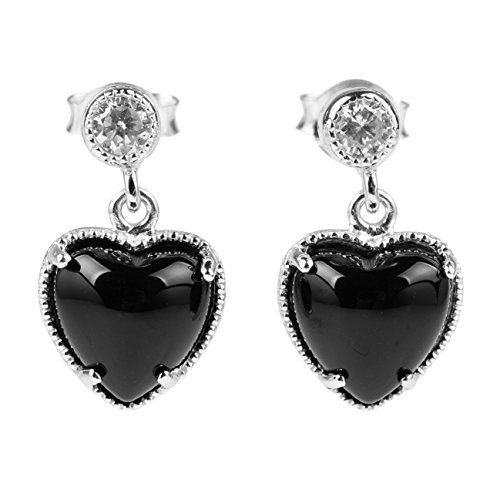Sterling Silver Black Onyx Stone Heart Shape White Cubic Zirconia Drop Dangle ()