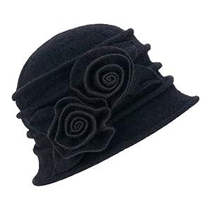 1920s Gatsby Womens Flower Wool Warm Beanie Bow Hat Cap Crushable A287 (Black)