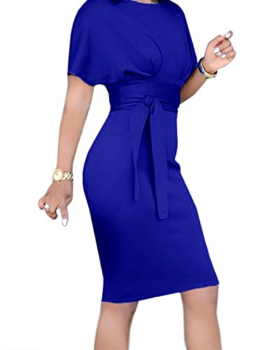 Beautife Womens Work Pencil Midi Dress Casual Summer Short Sleeve Party Dresses With Belt by Beautife