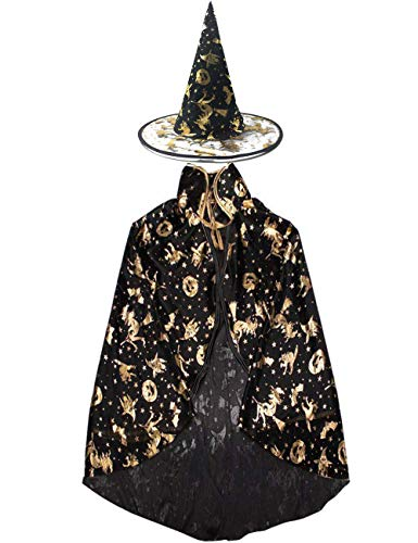 Trashy Halloween Outfits (Halloween Decoration Girls Women Boys Adults Witch Wizard Cosplay Cape Role Play Dress up Cloak with Pointed)