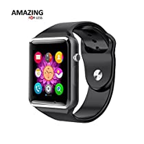 Amazingforless Bluetooth Touch Screen Smart Wrist Watch Phone with Camera (Black)