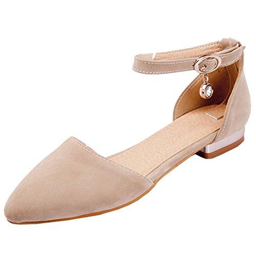 RAZAMAZA Camel de Mujer Zapatos Bombas Tobillo Correa 00zq7