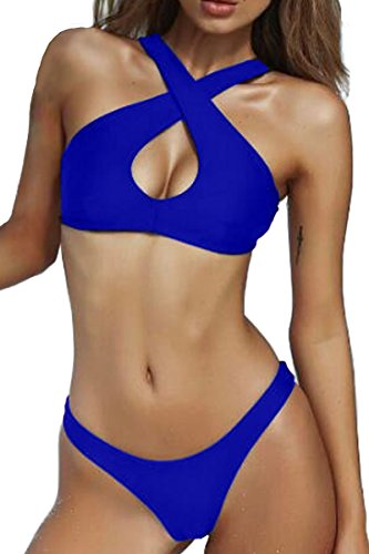 MERCHAM Sexy Halter Criss Cross Push up Padded Thong 2PCS Bikini Sets for Women Sapphire Blue L ()