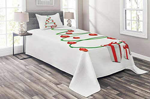 (Ambesonne Christmas Coverlet, Abstract Xmas Tree Design Baubles and Ribbon Boxes December Ornaments Modern, 2 Piece Decorative Quilted Bedspread Set with 1 Pillow Sham, Twin Size, Green Red White)