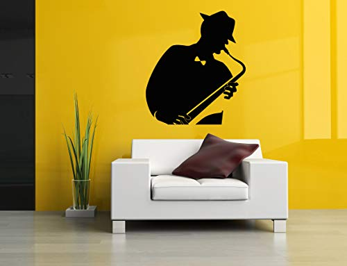 Vinyl Sticker Saxophone Musical Instrument Musician Abstract Poster Music Tuba Jazz Player Silhouette Mural Decal Wall Art Decor SA2728