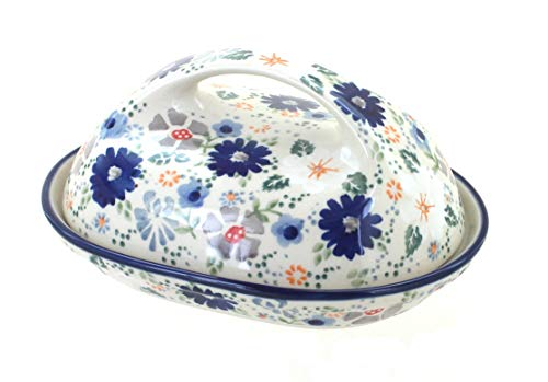 Blue Rose Polish Pottery Carnival Butter Dish (Blue Dishes Pottery)