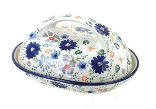 Blue Rose Polish Pottery Carnival Butter Dish (Blue Rose Pottery Butter Dish)